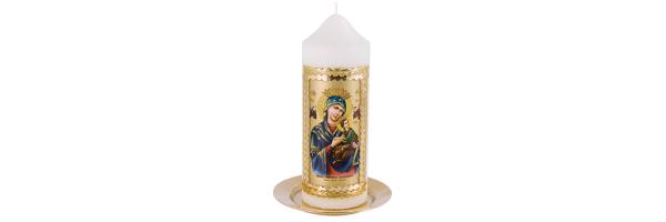 Kerzen mit Heiligen