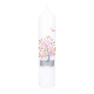 Kerze Lebensbaum rosa Tischkerze