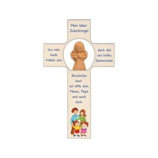 Kinderkreuz mit Tonengel  Meine Familie 20cm
